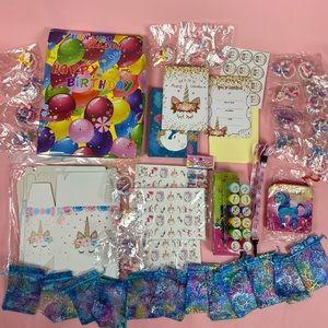 Girls Unicorn Birthday Invitations & Goody Bags